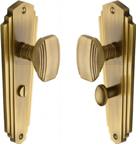 M Marcus Heritage Brass CHA1930AT Charlston Mortice Knob On Bathroom Backplate Antique Brass